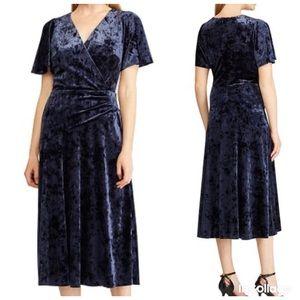 NWT Ralph Lauren Navy Velvet Fit & Flare Dress 10